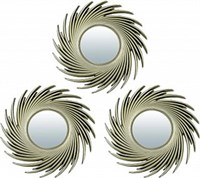 Комплект декоративных зеркал QWERTY Плезир ( 3шт)золото 25 см D-8 см 74049
