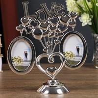 Фоторамка металл на 2 фото 5*6,4см Любовь и шарики-сердечки! серебро 20,7*7,3*17см 2336994