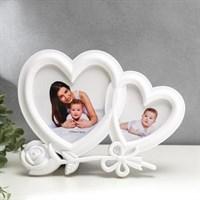 Фоторамка на 2 фото 10*10см, 13*13см Двойное сердце с розой белая 27,5*20,5см 1146175