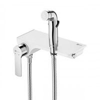 Смеситель LEMARK СОЛО для ванны с гигиеническим душем, настенный, белый LM7168CW