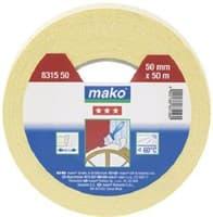 Скотч MAKO защитный крепированный 50м*30мм (до 60°С) желтый арт. 831530