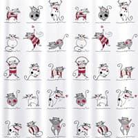 Штора для ванной TATKRAFT Funny Cats Textile (ткан.) 180*180см 14664